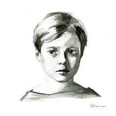 Zwart-wit inkt kind portret, kinderen portretten, Baby portret, minimalistische portret, moeder cadeau, aangepaste portret, aangepaste kunst