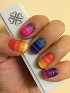 Rainbow Nails DIY easy Nail Art! Do it yourself cute Easter Egg manicure Pedicure. Striped faded colors blue yellow pink purple!