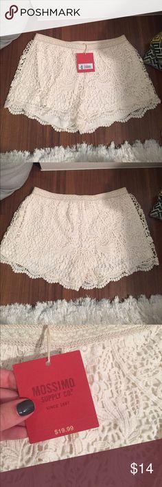 "NWT White Lace Shorts NWT white lace shorts. They were a little short on me (I'm 5'8"") but super cute! Shorts"