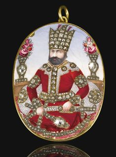 An enamelled and diamond-set portrait medallion of Muhammed Shah Qajar (r.1834–48), Persia, circa 1840 | Lot | Sotheby's