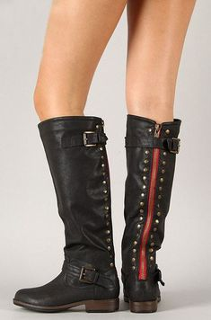 30799a8f912 Black Riding Boots with contrasting Red Zipper