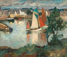 """''French Fishing Port,'' Richard Hayley Lever, oil on canvas, 20 x 24"""", private collection."""