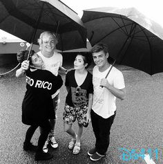 "Photo: Ross Lynch With His ""Teen Beach Movie 2″ Cast In The Rain August 12, 2014"