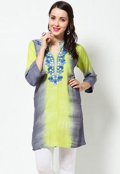 Rayon Embroidered Green Kurti - KURTIS & KURTAS - WOMEN