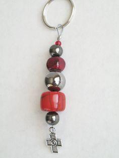Handmade Cross Keychain Red Silver Beaded Ladies by 2012BellaVida