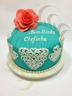 Caketutes Cake Designer: Bolo Renda - Lace Cake - Tiffany's Cake - Coral cake