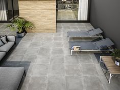 Moliere Grey Anti-Slip Floor Tiles from Tile Mountain only per tile or per sqm. Order a free cut sample, dispatched today - receive your tiles tomorrow Terrasse Design, Porch Flooring, Design Moderne, Royal Caribbean, Brutalist, Ping Pong Table, Tile Design, Bauhaus, Industrial Style