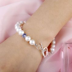 Girls Gift Freshwater Pearl Bracelets with Heart Shaped Silver Sterling & Blue Crystal Bangles For Women Pearl Bracelets, Freshwater Pearl Bracelet, White Freshwater Pearl, Bangles, Blue Crystals, Crystal Beads, Girl Gifts, Fresh Water, Heart Shapes