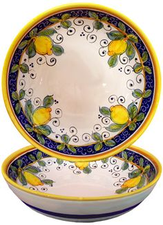 Limone Alcantara Italian Ceramic Collection is hand-painted for us by a family-owned pottery studio near Deruta, Italy. The villages surrounding Deruta have a rich heritage in Italian Majolica production.