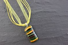 Bright Striped Glass Fused Pendant Yellow by GlassJewelleryByJ