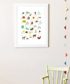 Adorable alphabet! One sweet image for every letter with words in Spanish to match. Originally created as a collage using scrap paper, this whimsical poster is reproduced in soy ink on recycled heavyweight paper. Frame not included11'' W x 14'' HNew Leaf recycled cardstock / soy inkMad...