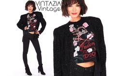 Vtg 80s Lawrence Kazar Black Heavily Beaded Jacket by VINTAZIAVintage