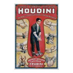 Vintage magic performance poster promoting Houdini's 1908 illusion show.