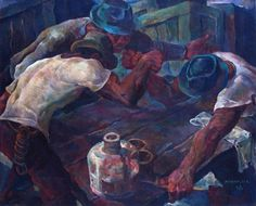 Arm Wrestling by Vicente Silva Manansala │ The image was edited by XSportNews for a better viewing. If you want to see the original image, click the link below Philippine Art, Spanish Artists, Cubism, Artists Like, Original Image, Art History, Oil On Canvas, Illustration Art, Illustrations