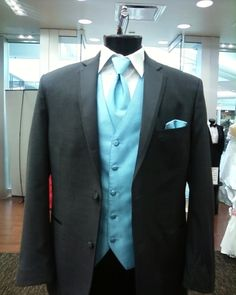 not shown with pants, but dark gray suits and light blue vests/ties for the groomsmen! thank you, american commodore tuxedo!
