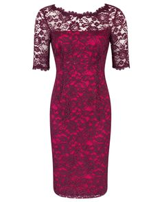 Mulberry Contrast Stretch Lace Sheath Dress Image 0