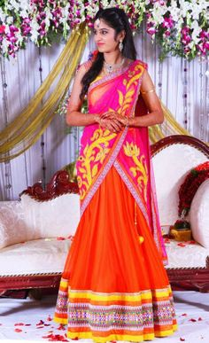 Bride in Mugdha Arts Half Saree | Saree Blouse Patterns