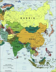 Map of wast asia china russia mongolia japan south korea north asia map region country asia stretches from japan in the east through russia in the west it encompasses saudi arabia and aggregate gumiabroncs Images