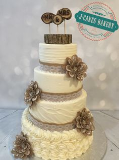 Rustic Ivory Wedding Cake with burlap, lace and pearls!
