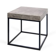 A simple cocktail or end table in a melamine cement finish. - Faux concrete melamine finish table tops paired with a matte black base and non-storable extension - Panels made of honeycomb inlay fr Design Shop, Modern Retro, All Modern, Rustic Modern, Living Room Furniture, Home Furniture, Petra, Cement, Concrete