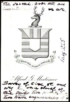Armoral bookplate of Alfred Garnett Mortimer (1848-1924), Rector of Saint Mary's, Staten Island, New York, 1880-1892 and Rector of Saint Mark's, Philadelphia, 1892-1912. See: Bolton's American Armory, p. 222