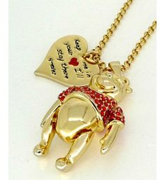 Wear this beautiful and sparkly necklace to show your love for the wonderful and wise Winnie the Pooh. Adorable Disney by Couture Kindom gold-plated necklace featuring a Winnie the Pooh bear pendant. The bear has mov Disney Couture Jewelry, Disney Jewelry, Winnie The Pooh Friends, Disney Winnie The Pooh, Cute Disney, Disney Style, Disney Jr, Disney Necklace, Pooh Bear