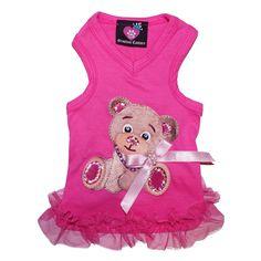 teddy bear pink v-neck dog tank