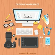 Workspace with photographer elements Free Vector Vector Free, Flat Design, Business Design, Simple, Computers, Projects, Desktop, Fun, Bullet Journal