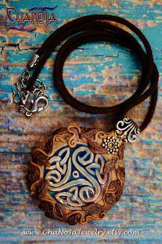Celtic Knot Pendulum-raku polymer clay pendant ChaNoJa unique patina vines leaf leaves turquoise tribal pagan wiccan mystic celtic spirit