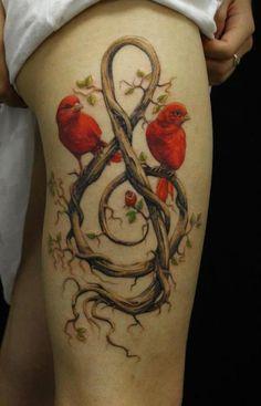 Wooden Violen Key And Orange Birds Sitting 3D Tattoo