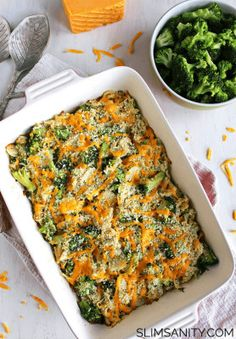 Healthy broccoli chicken casserole is a simple dinner you can whip up in 30 minutes! | slimsanity.com