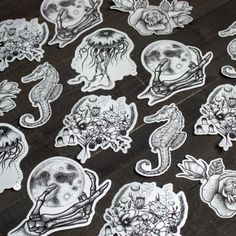 Custom shaped vinyl stickers for Rebecca Vincent Tattoos!   Awesome!