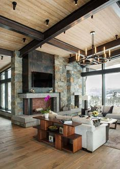 Search rustic living room decorating concepts and also furniture formats. Discover style motivation from a variety of hill style living spaces, consisting of shade, design rustic house Modern-rustic mountain home with spectacular views in Big Sky country Modern Lodge, Modern Lake House, Modern Rustic Homes, Rustic Modern Living Room, Modern Mountain Home, Rustic Bedrooms, Rustic Contemporary, Mountain Homes, Guest Bedrooms