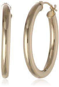 "Duragold 14k Yellow Gold Hoop Earrings, (1"" Diameter)"
