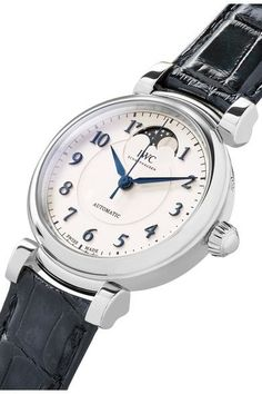 IWC SCHAFFHAUSEN - Da Vinci Automatic Moon Phase 36 Alligator And Stainless Steel Watch - Silver - one size