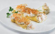Receta de rollitos rellenos de marisco. (comida de espana)