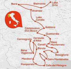 5 Day Langhe Monferrato and Lake Orta Fall Motorbike Tour Map