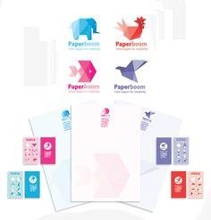 логотип+фирменный стиль для магазина цветной бумаги Paper boom