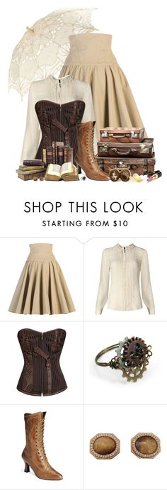 """Steampunk Traveler"" by ameve ❤ liked on Polyvore featuring Lena Hoschek, MANGO, Chanel, Monique Péan, women's clothing, women, female, woman, misses and juniors"