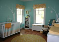 aqua yellow baby nursery