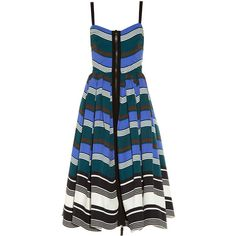 Fendi Wave zip-through midi dress (10.405 RON) ❤ liked on Polyvore featuring dresses, blue multi, blue dress, v neck dress, blue fit and flare dress, cotton dresses and pleated dress
