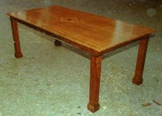 Custom Dining Table in Benge wood with cross banding & black inlays.  seats 8.    72'' x 36''