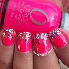 pink glitter nails, glitter gradient, Orly Vavavoom, nail art