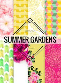 Free Summer Gardens Paper Set from Craft A Doodle Doo #scrapbooking