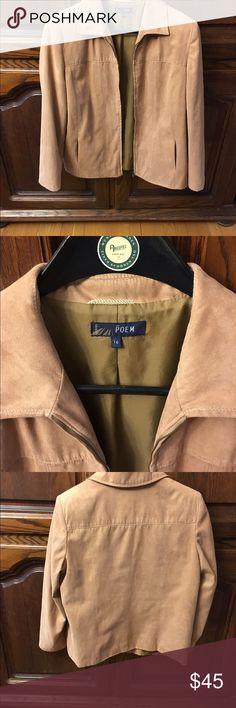 Faux suede jacket UK size 16 or USA size 12 Awesome faux suede jacket. UK size 16 USA size 12. Fully linen. See size conversion below.CLOTHING - SINGLE SIZE CONVERSION UK46810121416 US124681012 Jackets & Coats