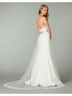 Dramatic A-line Sweetheart Chapel Train Tulle Satin Wedding Dress with Appliques #Wedding #Dress $179.99