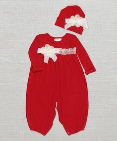 Red Lace Playsuit & Beanie by Truffles Ruffles #zulily #zulilyfinds