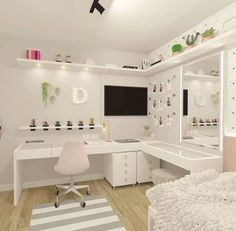 Room with desk, dressing table and modern mirror with dressing room lighting . Bedroom Decor For Teen Girls, Cute Bedroom Ideas, Room Ideas Bedroom, Girl Bedroom Designs, Small Room Bedroom, Home Decor Bedroom, Small Rooms, Bedroom Furniture, Study Room Decor