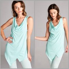 Drape Cowl Neck Pastel Tank Top The perfect sleeveless top to pair with leggings. Featuring a drape front cowl neck design. Make of rayon and spandex. Colors mint. Leggings sold separately.  Size S, M, L, XL. Tops