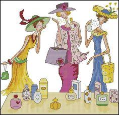 Photo Cross Stitch Kits, Cross Stitch Patterns, Bothy Threads, Retro 4, Victorian Women, Cross Stitching, Hats For Women, Needlework, Vintage Ladies